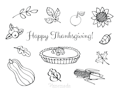 Thanksgiving Coloring Pages Happy Thanksgiving Pie Pumpkin Falling Leaves Fruit