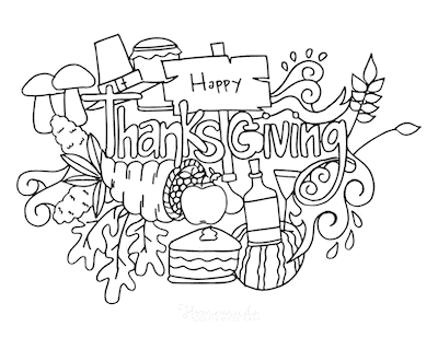 Thanksgiving Coloring Pages Happy Thanksgiving Sign Abundance