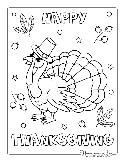 Thanksgiving Coloring Pages Happy Turkey Stars Berries
