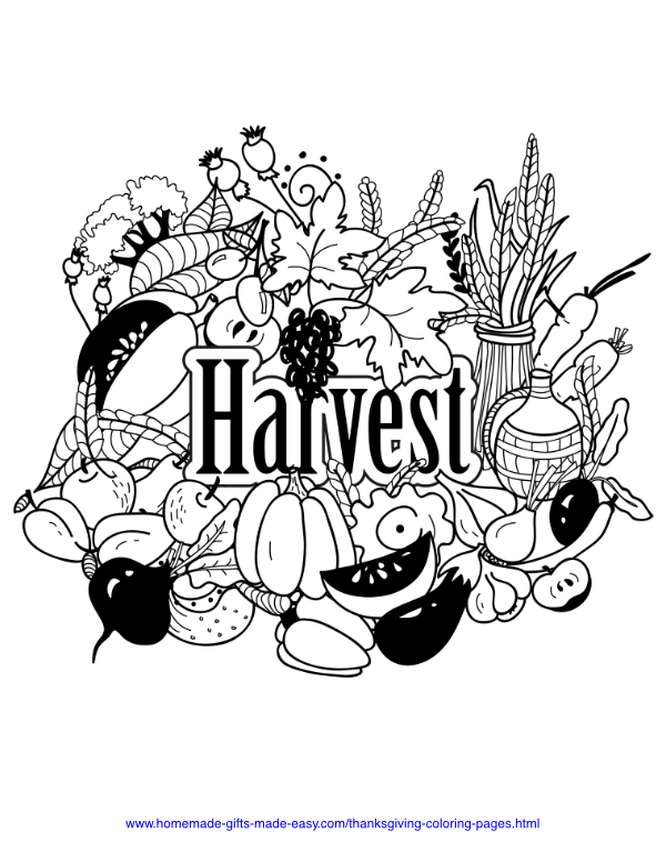 thanksgiving coloring pages - Harvest abundance
