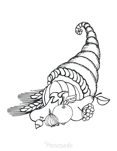Thanksgiving Coloring Pages Harvest Cornucopia