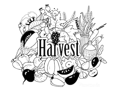 Thanksgiving Coloring Pages Harvest Food