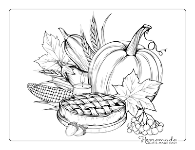 Thanksgiving Coloring Pages Harvest to Color With Pie