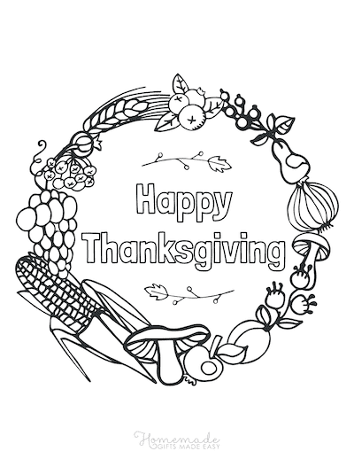 Thanksgiving Coloring Pages Harvest Wreath