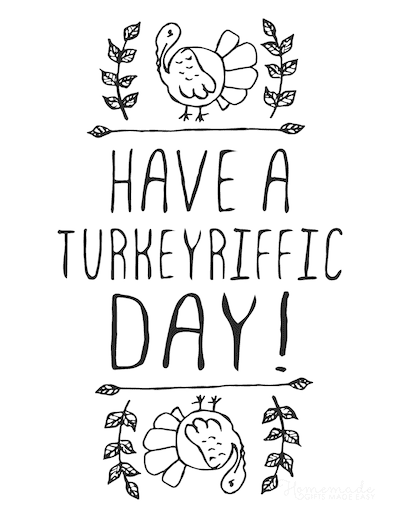 Thanksgiving Coloring Pages Have a Turkeyriffic Day Poster