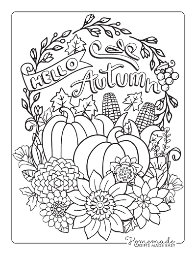 Thanksgiving Coloring Pages Hello Autumn Pumpkins Flowers