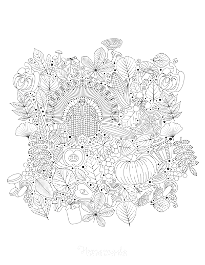 Thanksgiving Coloring Pages Intricate Patterned Harvest Doodle for Adults
