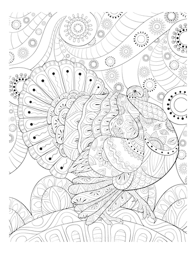 Thanksgiving Coloring Pages Intricate Patterned Turkey for Adults