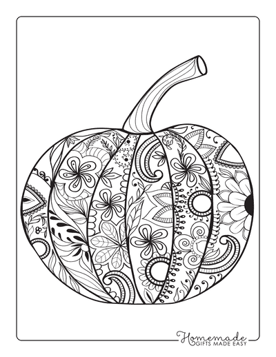 Thanksgiving Coloring Pages Intricate Pumpkin Doodle for Adults
