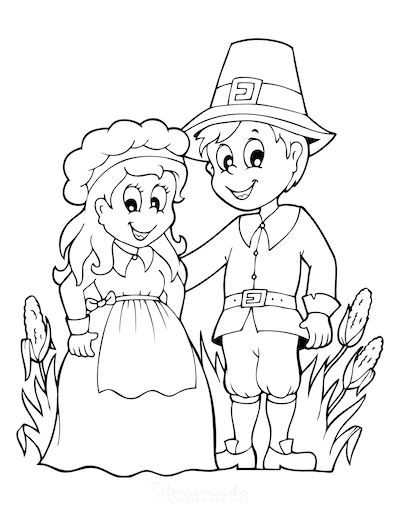 Thanksgiving Coloring Pages Pilgrims Corn Harvest