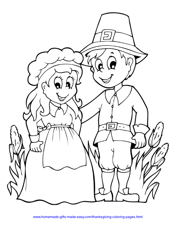 thanksgiving coloring pages - Pilgrims hat with corn