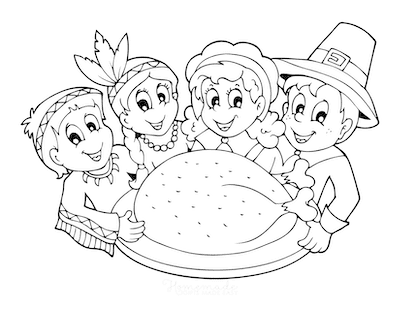 Thanksgiving Coloring Pages Pilgrims Native Americans Turkey Dinner
