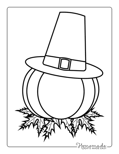 Thanksgiving Coloring Pages Pumpkin Leaves Pilgrim Hat