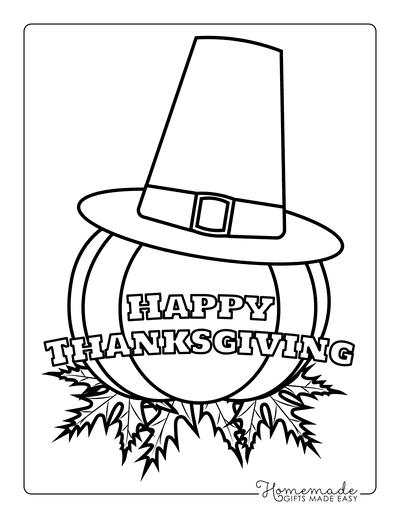 Thanksgiving Coloring Pages Pumpkin Leaves Pilgrim Hat