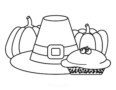 Thanksgiving Coloring Pages Pumpkin Pie Pilgrim Hat