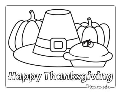Thanksgiving Coloring Pages Pumpkin Pie Pilgrim Hat