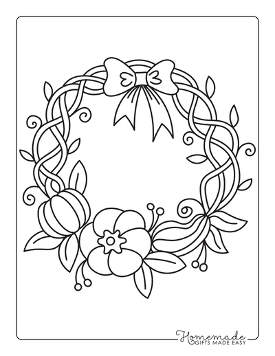 Thanksgiving Coloring Pages Pumpkin Wreath