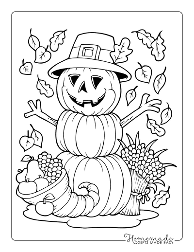 Thanksgiving Coloring Pages Scarecrow Pumpkin Cornucopia Harvest