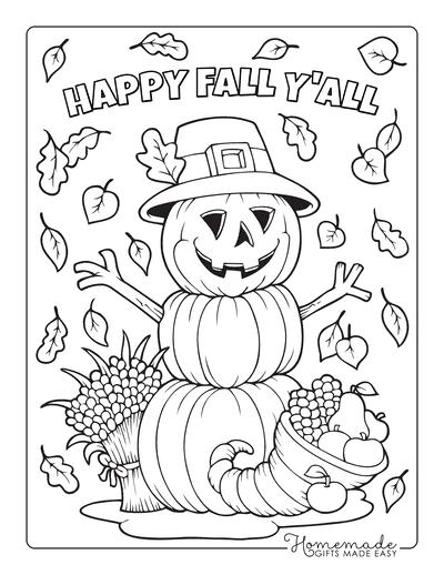 Thanksgiving Coloring Pages Scarecrow Pumpkin Cornucopia Harvest