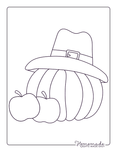Thanksgiving Coloring Pages Simple Hat Apples Pumpkin for Preschoolers