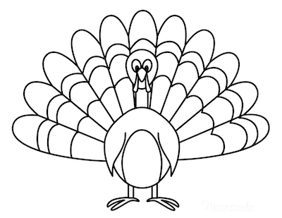 Thanksgiving Coloring Pages Simple Turkey for Preschoolers