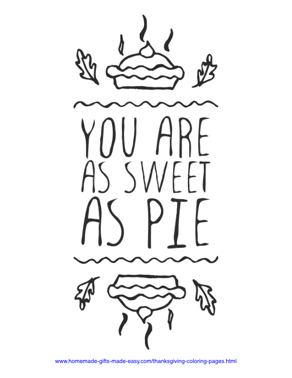 thanksgiving coloring pages - Sweet as pie