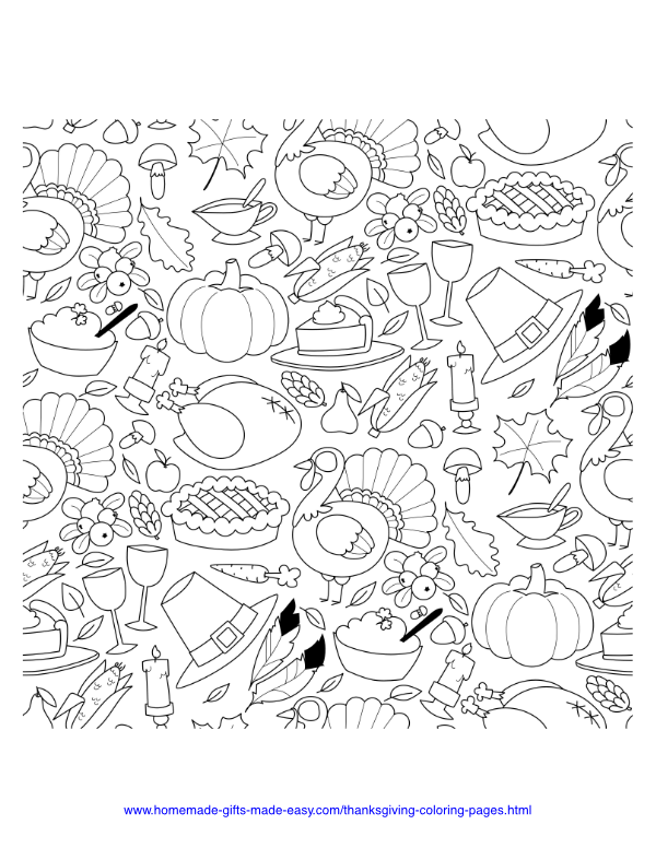 thanksgiving coloring pages - Thanksgiving food spread 2