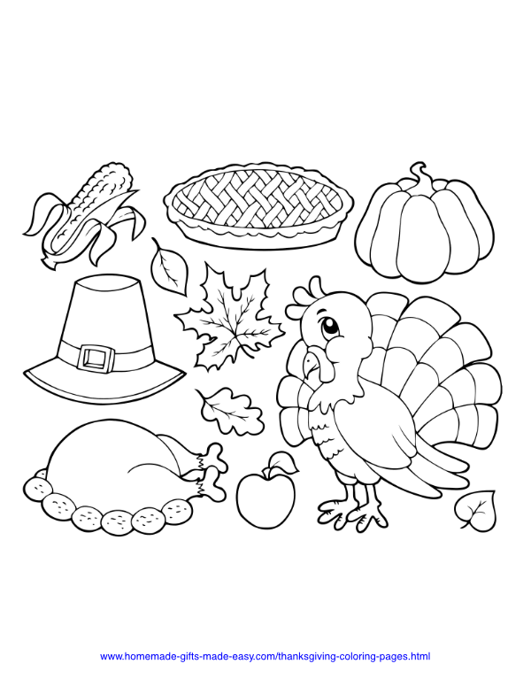 thanksgiving coloring pages - Thanksgiving turkey hat pie corn
