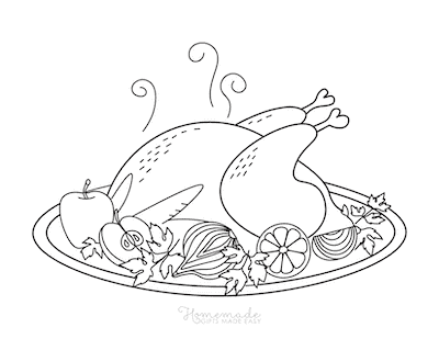 Thanksgiving Coloring Pages Turkey Dinner