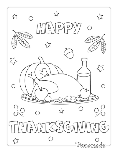 Thanksgiving Coloring Pages Turkey Dinner Pumpkin Apples