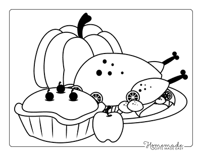 thanksgiving coloring pages - Turkey and pumpkin pie