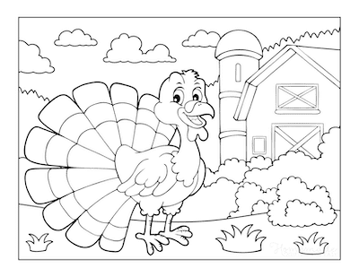 Thanksgiving Coloring Pages Turkey Feathers Out Barn