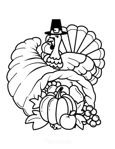Thanksgiving Coloring Pages Turkey Hat Abundant Cornucopia Harvest