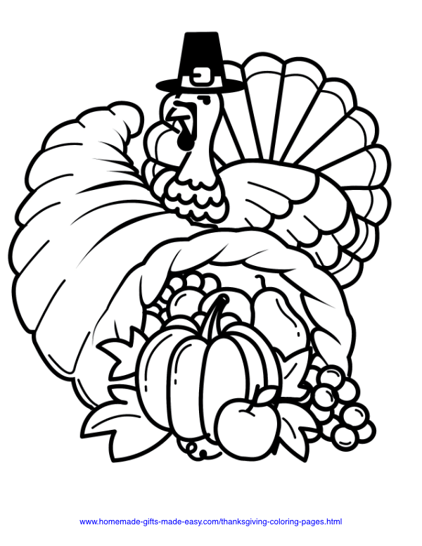 thanksgiving coloring pages - Turkey with hat and cornucopia