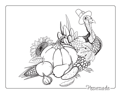 Thanksgiving Coloring Pages Turkey Hat Harvest