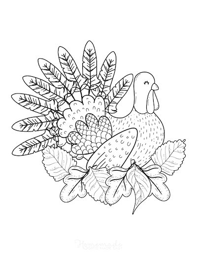 Thanksgiving Coloring Pages Turkey in Leaves