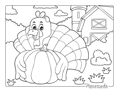 Thanksgiving Coloring Pages Turkey Near Barn