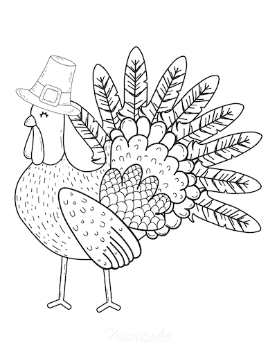 Thanksgiving Coloring Pages Turkey Wearing Pilgrim Hat
