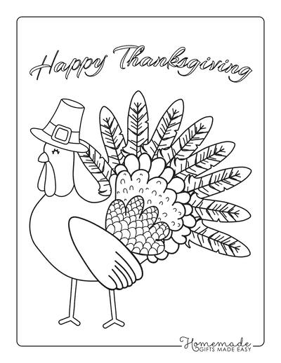 Thanksgiving Coloring Pages Turkey Wearing Pilgrim Hat