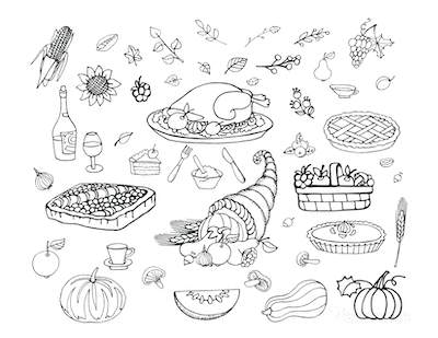 Thanksgiving Coloring Pages Turkey Wine Harvest Fall Leaves