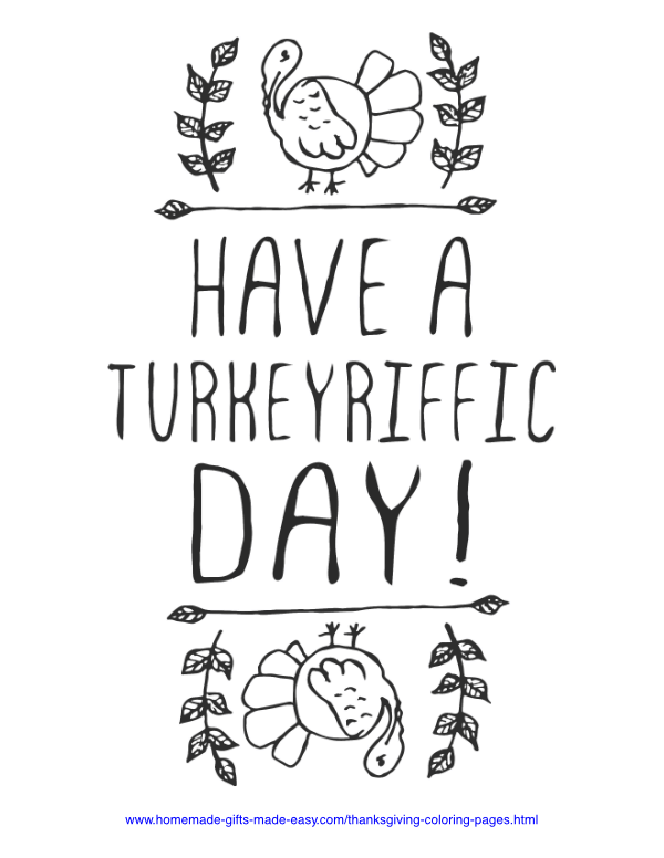 thanksgiving coloring pages - Turkeyriffic day