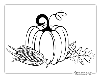 Thanksgiving Coloring Pages Vine Pumpkin Corn Cob Fall Leaves