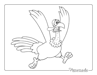 Turkey Coloring Pages Cartoon Scared Running Away
