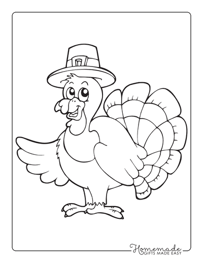 Turkey Coloring Pages Cartoon Wearing Hat