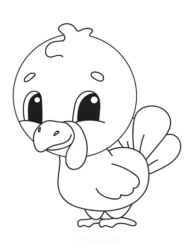 Turkey Coloring Pages Cute Cartoon Baby Turkey