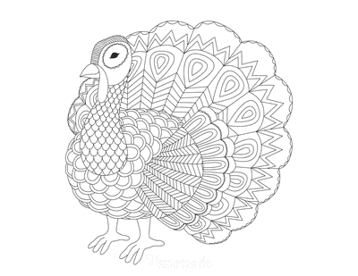 Turkey Coloring Pages Detailed Patterned Turkey for Adults to Color