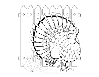 Turkey Coloring Pages in Front of Fence