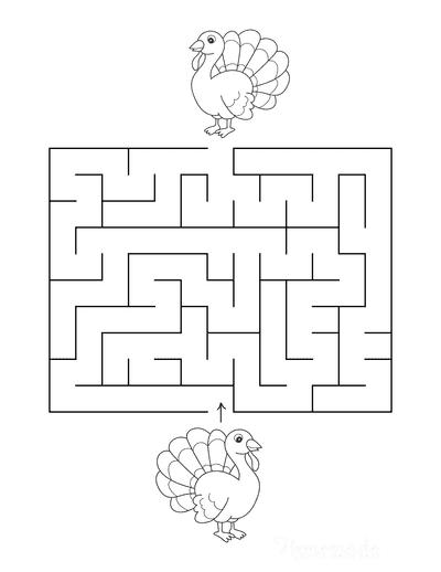 Turkey Coloring Pages Maze to Color