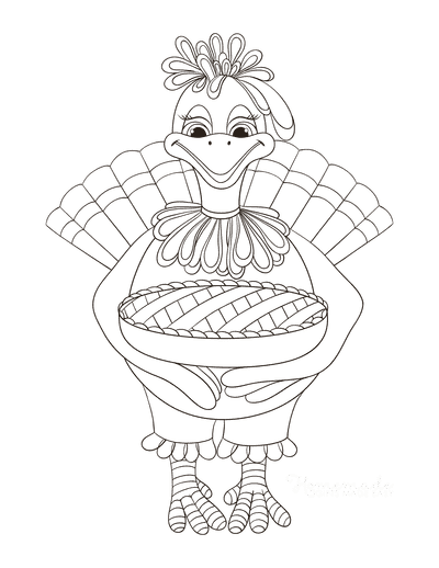Turkey Coloring Pages Mother Turkey Holding Pie