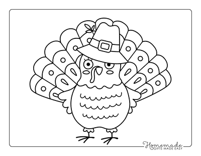 Turkey Coloring Pages Pilgrim Hat Fanned Feathers